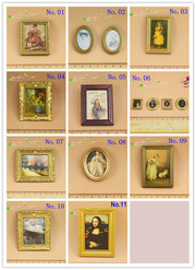 1:12 or 1/24 scale dollhouse miniature framed wall paintings